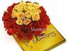 Bunch of 40 Mixed Yellow and Red Roses and Cadbury Calibration Chocolates
