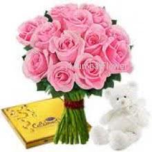 Bunch of 12 Pink Roses 6 inch Teddy and Cadbury Celebration Chocolates