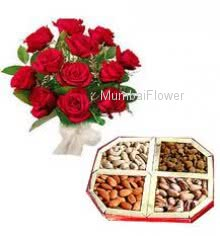 Bunch of 12 Red Roses and Pack of Half kg Dry Fruit