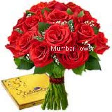 Bunch of 24 Red Roses and Cadbury Celebration Chocolates