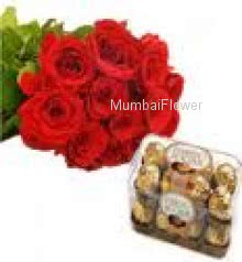 bunch of 12 Red Roses and 16 pc Ferrero Rocher Chocolate