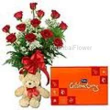 Bunch of 12 Red Roses, Cadbury Celebration Chocolates and 12 inch Teddy