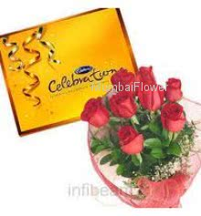 Bunch of 12 Red Roses and Cadbury Celebration Chocolates