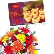 Bunch of 10 Mixed Color Flowers and Pack of Half kg Soan Papdi