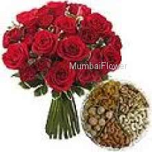 Bunch Of 24 Red Roses and Pack of Half Kg. Mixed Dry Fruit