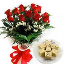 Bunch of 12 Red Roses and Pack of Half kg Soan Papdi