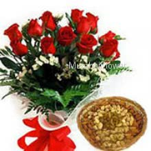 Bunch of 12 Red Roses and Pack of Half kg Mixed Dry Fruit