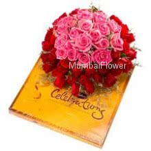 Bunch of 40 Pink and Red Roses and CadBury Celebration Chocolate