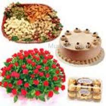 Bunch Of 30 Red Roses, Pack of Half kg Mixed Dry Fruit, 16 pc Ferrero Rocher and Half Kg Chocolate Cake