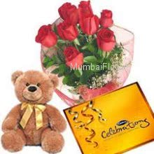 Bunch of 12 Red Roses, Big CadBury Celebration Chocolate and 12 Inch Teddy