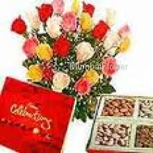 Bunch of 20 Mixed Roses, Big CadBury Celebration Box and Pack of Half Kg Mixed Dry Fruit