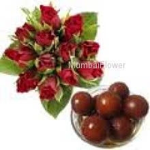 Bunch Of 12 Red Roses and 1 Kg. Gulab Jamun