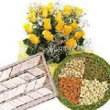 Bunch of 20 Yellow Roses, Pack of 1 kg Kajukatli and Pack of Half kg Mixed Dry Fruit