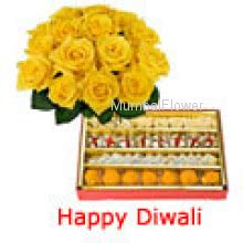 Bunch of 12 Yellow Roses and Pack of 1 kg Assorted Mithai