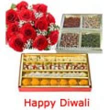 Bunch of 20 Red Roses, Pack of Half kg Assorted Mithai and Pack of  Half kg Mixed Dry Fruit