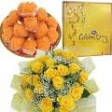 Bunch of 20 Yellow Roses, Big CadBury Celebration box and Pack of 1 Kg. Motichur Ladoo