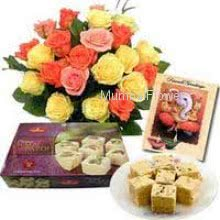Bunch of 24 Mixed Roses and Pack of 1 Kg. Soan Papdi with Festive Greeting Card