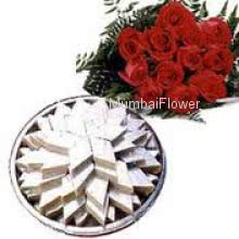 Bunch of 12 Red Roses and Half Kg. Kaju Katli