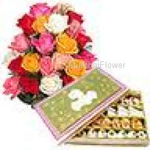 Bunch Of 24 Mixed Roses and Pack of 1 Kg. Assorted  Mixed Mithai   Assorted