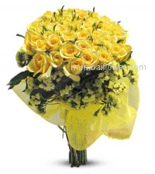 Yellow Roses nicely decorated with fillers for any occasion in the Bunch of 40 Roses.