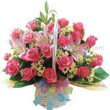 Basket of 30 Pink Roses and 3 Pink Lilies nicely decorated with Greens.