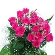 Total Bunch of 24 Pink Roses with green combination for your dear one.