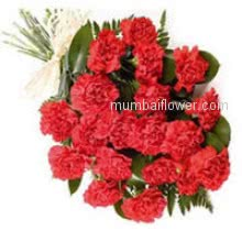 Bunch of 20 Red Carnation nicely decorated with Ribbons. Send to your love ones to express your feeling