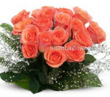 A warm sunset like Bunch of 24 Orange Roses nicely decorated with Green Fillers and Ribbons