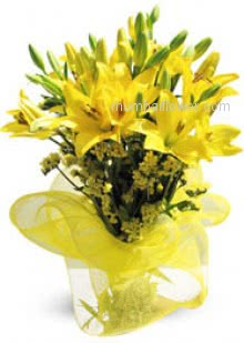 Bunch of 5 Yellow Lilies nicely decorated with Ribbons for the special person in your life who made your life special.