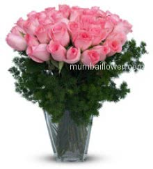 A rare and beautiful rose for someone special. 30 Pink Roses in a Vase nicely created with fillers .