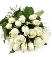White roses stand for: unity, loyalty, reverence, humility, love stronger than death, sincerity, purity, silence and innocence as well as youthfulness.Bunch of 15 White Roses nicely decorated with greens