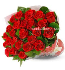 Bunch of 30 Red Roses to impress your loved ones and express your deepest feelings nicely decorated with Ribbons and fillers.