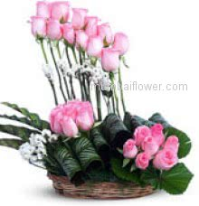 Arrangement of 30 Pink Roses nicely decorated with greens for your suitable occasion.  Please note: Photo is for idea only, actual shipment may vary.