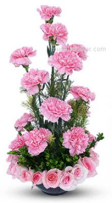 A Beautiful present for your mom Arrangement of 15 Pink Carnation and 20 Pink Roses nicely created for your loved ones.