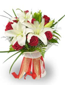 Send this Bunch of 10 Red Roses and 3 White Lilies for someone whose you miss a lot.