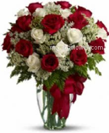 Classically fantastic way to say I love you whith these special 30 Red and White Roses in a Vase nicely decorated with fillers