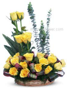 Yellow rose is for friendship send to your lovely friend with Arrangement of 30 Yellow Roses nicely decorated with Greens.