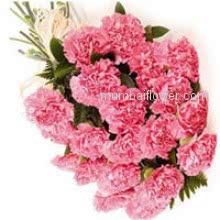Bunch of 20 Pink Carnations signifies divinity. The literal meaning of carnation flower is the flower of love helps to lift the mood.