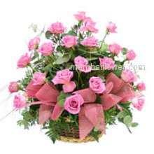 Express your love with this Basket of 30 Pink Roses nicely decorated with Greens.