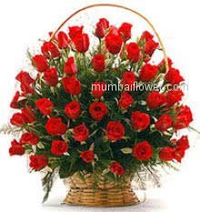 Add some romance with with this rich arrangement of luxurious flowers Basket of 40 Red Roses for your loved ones nicely decorated.