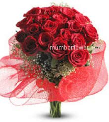 Red roses are for love triumphant.Bunch of 30 Red Roses nicely decorated with greens, fillers and Ribbons.