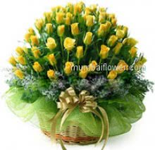 A beautiful Basket of 40 Yellow Roses for your loved ones nicely decorated with Ribbons to wish or congratulate from heart to recipient.