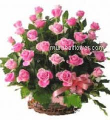 Basket of 24 Pink Roses with ribbons are as natural and pure as your love for your loved one.