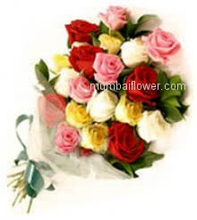 Bunch of 20 Mixed Color Roses nicely decorated with fillers and Ribbons.