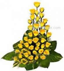 Send this Great arrangement of 40 Yellow Roses nicely decorated with Greens to your loving friends to stay forever in his/her heart.