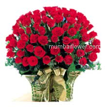 perfect for valentine day or your loved ones Birthday, Basket of 50 Red Roses for your loved ones nicely decorated with Ribbons.