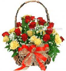 Give cheerful, excellent and loving  Basket of 40 Red and Yellow Roses for your loved ones nicely decorated with Ribbons.