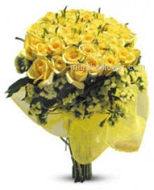 Flowers always make people better, happier and more helpful; they are sunshine, food and medicine to the soul. give Bunch of 40 yellow Roses