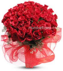 Bunch of 50 Red Roses nicely decorated with fillers and ribbons. Express your love to your Special Valentine.