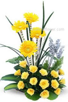 A unique a  WOW Arrangement of 20 Yellow Roses and 4 Yellow Gerberas for any occasion or for the who deserve this beauty.
